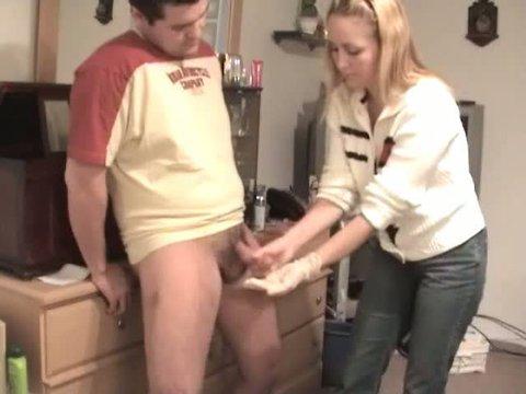 wife giving handjob cum