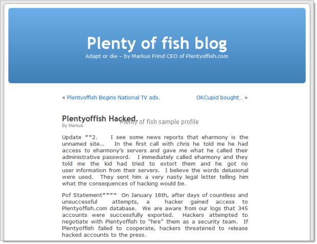 fish plenty profile dating examples of