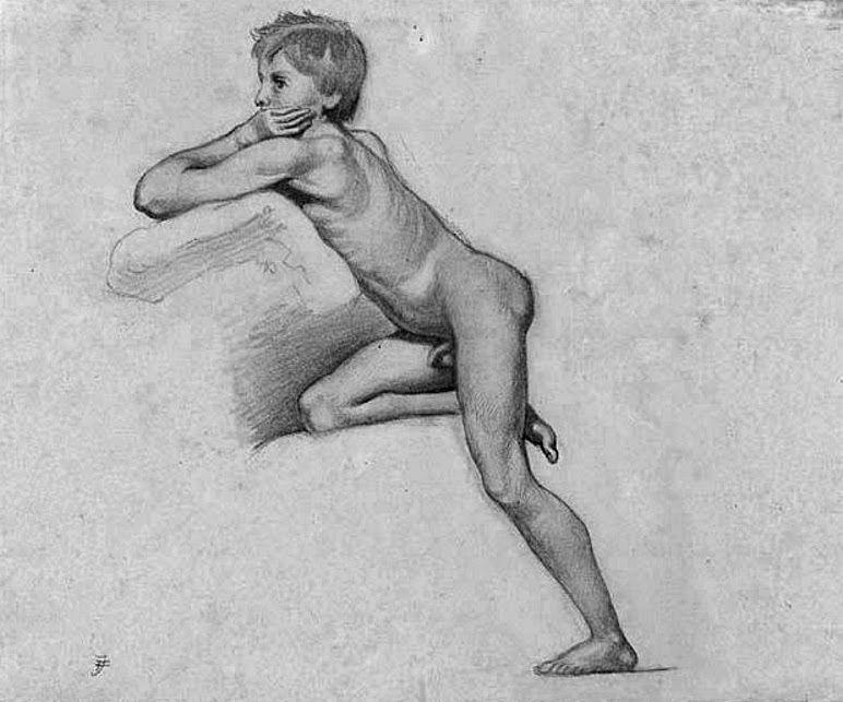 nude boy drawing