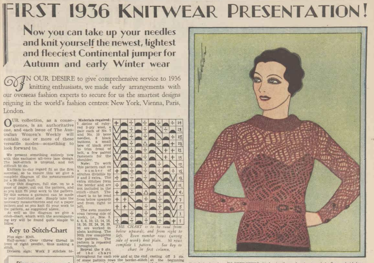 patterns knitting online free vintage