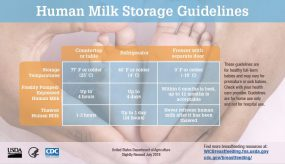 temperature for milk breast storage recommended