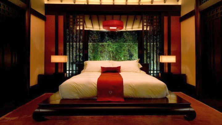 red black asian bedroom